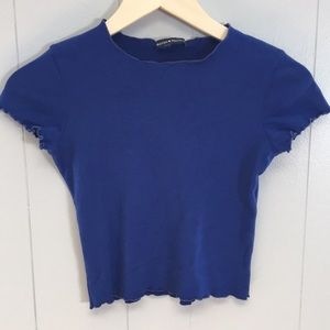 Brandy Melville Royal Blue Ruffle Hem Crop Top